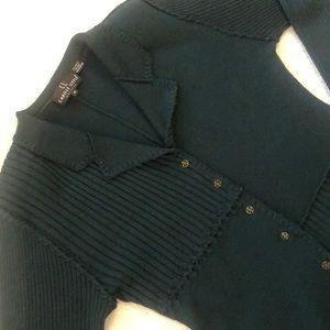 CAROLE LITTLE DARK GREEN SWEATER DRESS